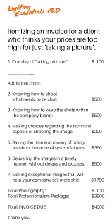 this simple invoice shows the real reasons why professional photographer don giannatti at lighting essentials has put together a more realistic invoice it shows things your clients at least commercial ones