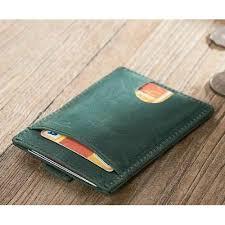 leather olive green mens card holder