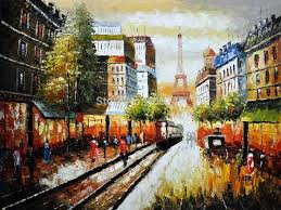canvas oil painting paris street deocrative painting buggy ride through paris high quality hand painted free
