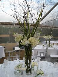 Tall Centerpiece: white hydrangea and curly willow with hanging votives