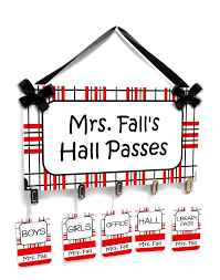 teachers hall passes sign red white and black big plaid