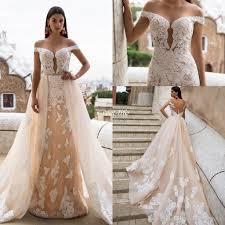 milla nova champagne wedding dresses mermaid full lace over skirts