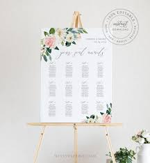 Floral Seating Chart Template Printable Wedding Seating Sign Instant Download 100 Editable Boho Wedding Us Uk Poster Size 043 222sc