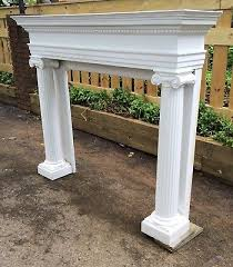 3 of 11 antique white carved wood fireplace surround mantel architectural ionic columns