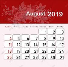 August Calandar Month Calendar 2019 August 2019 Calendar Calendar