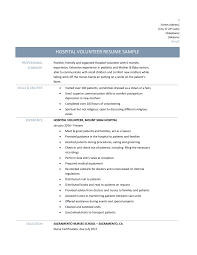 Remarkable Resume Examples For Volunteering For Your Hospital