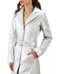 silver trench leather coat