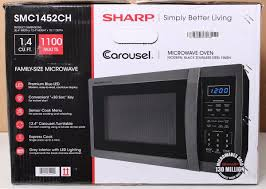 sharp 1 4 cu ft microwave. sharp smc1452ch carousel 1.4 cu ft mid-size microwave black stainless steel #p24 | ebay 1 4 cu ft 0