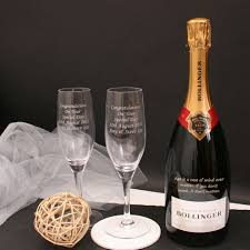 personalised bollinger chagne gift set with end chagne flutes
