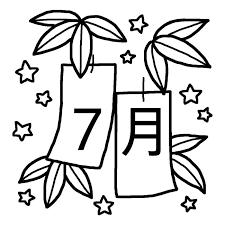 笹飾りと短冊白黒7月タイトル無料イラスト夏の季節行事素材