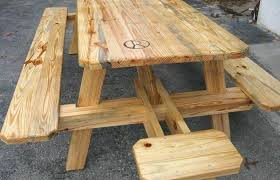 redwood picnic table plans modern outdoor ideas medium size round wooden picnic table with attached benches redwood wood plans