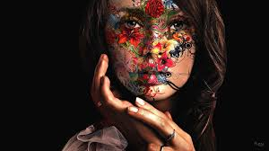 women paintings artistic flowers paint faces painted black background painted women creative wallpapers