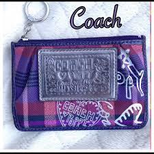 Coach Poppy Purple plaid Key chain Wallet