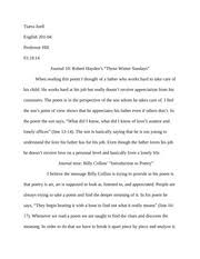 """an explication of """"on my first son"""" by ben jonson tiarra joell  2 pages journal 10 those winter sundays"""