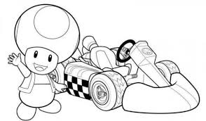 Mario Kart Coloring Pages Toad With Mario Bros Toad Coloring Page