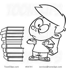 cartoon outline boy glaring at a stack of books 56761 by ron leishman