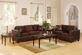 Microfiber Living Room Furniture F7591 Chocolote Microfiber Living Room Set By Poundex