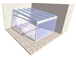 sliding glass doors to front and one side with the classic infill tzium section above the doors at the side of the unit to provide a straight support