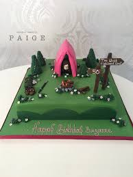Hiking Cake Designs Camping Themed Cake With Pink Tent Novelty Figure Campfire
