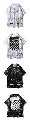 Off White Men T Shirts Casual Tops Vancouver Limited Marble Splash Tee Clothing