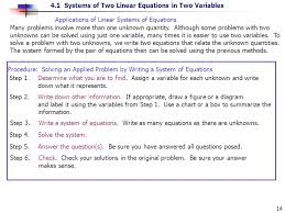 s of linear systems of equations