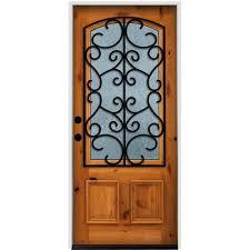classic decorative right hand 3 4 lite rain glass w grille natural prefinish k alder prehung front door