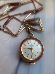 vintage bucherer enameled pendant watch