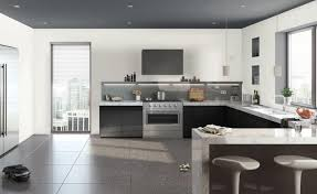 modern kitchen without upper cabinets with best granite countertops grey backsplash design stainless steel appliances