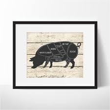 Pig Butcher Chart Art Butcher Chart Pig Art Print
