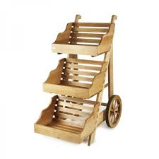 wooden display cart view enlarged image