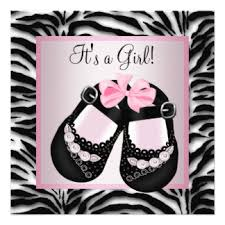 Giraffe Baby Girl Shower Invitation Hot Pink Zebra U2013 Pink The CatPink Zebra Baby Shower Invitations