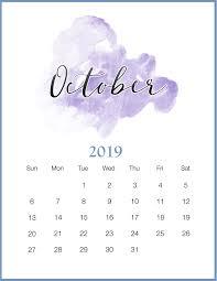 2019 October Calendar Watercolor 2019 October Printable Calendar Wallpaper Calendar