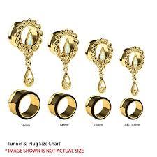 ear gauging chart actual size bodyj4you 4pc single flared created opal filigree tunnels ear gauge