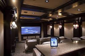 basement theater ideas. Interior Elegant Theater Room Design With White Wall Lamp And Fy Cream Leather Seat Ideas Basement R
