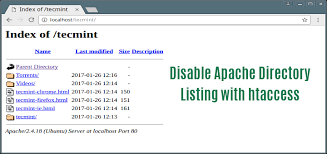 Disable Apache Web Directory Listing Using .htaccess File