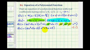 ex 3 find a degree 4 polynomial function given fractional and complex zeros