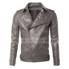 mens biker moto asymmetrical faux leather jacket