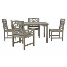 blue hill 5 piece all weather eucalyptus wood patio dining set