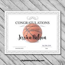 Editable Basketball Certificate Template Printable Certificate Template Basketball Certificate Template Personalized Diploma Certificate