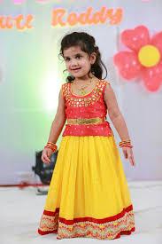 Indian Baby Girl Lehenga Designs Yellow Red Langa Blouse Designer Mirror Work Blouse