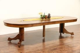 oak 4 round 1910 antique carved pedestal dining table 6 leaves extends 10