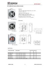 dp series meter socket com dp8208100s 125 series meter socket features 100a 125a 600v max single phase 2or 3 wires conform to ansl 12 7 heavy duty tinned copper jaw nema 3r type