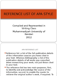 Reference List Of Apa Style Apa Style Letter Case
