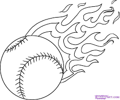 Baseball Flaming Baseball Cool Get This Coloring Page