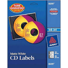 Avery R Matte White Cd Labels For Inkjet Printers 28669 16 Disc Labels And 32 Spine Labels