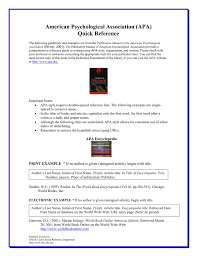 American Psychological Association Apa Quick Reference