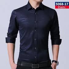 Men Shirt <b>2018 Spring</b> Autumn <b>New</b> elastic Business Men'S Slim Fit ...