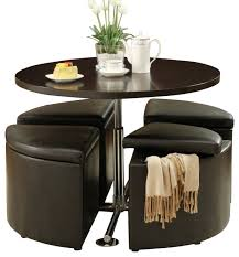 homelegance rowley round gas lift dining table with 4 storage ottomans