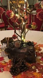 real wood led lit rustic log table decorations for wedding or event