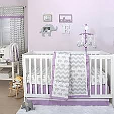 image of The Peanut Shell Elephant Crib Bedding Collection in Grey/Purple